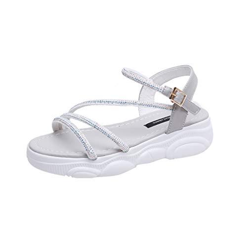 Women's Platform Sandals Summer Casual Wedge Ankle Strap Buckle Studded Open Toe Sandals Gray