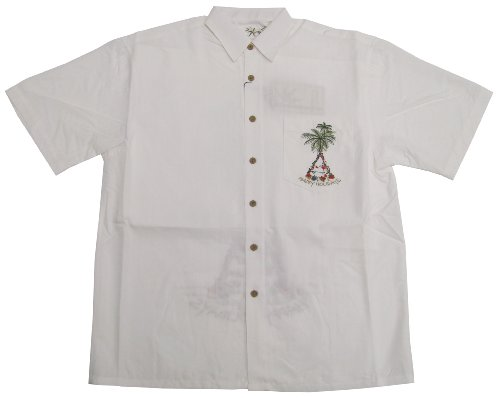 Bamboo Cay Mens Aloha Christmas Happy Holidays Tree Embroidered Shirt in Off White - M (Tree Embroidered Christmas)