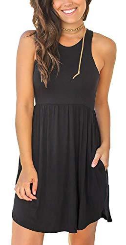 GULE GULE Women Summer Sleeveless Casual Empire Waist Solid Comfy Pocket Sundress Black