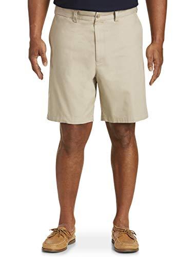 Harbor Bay by DXL Big and Tall Waist-Relaxer Flat-Front Shorts, Khaki 52 Reg