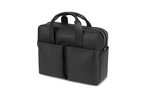 - Moleskine Classic Leather Double Briefcase, Black -  For Work, School, Travel & Everyday Use, Space for Devices, Tablet, Laptop, & Chargers, Notebook Planner or Organizer, Secure Zipper