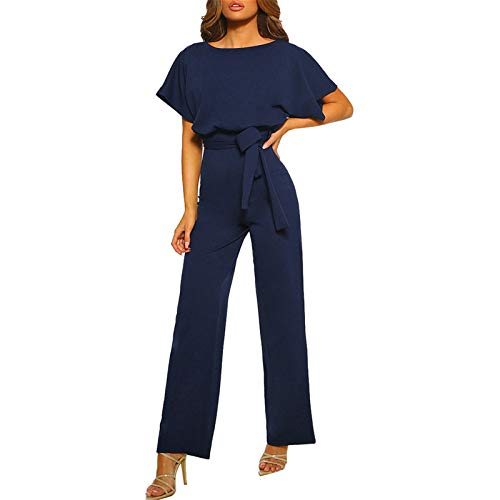 Thenxin Womens Formal Work Jumpsuits O-Neck Short Sleeve Solid Color Belt Straight Leg Playsuits(Navy,L)
