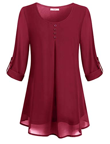 Cestyle Work Tops for Women, Chiffon Blouses for Women Fashion 2018 3/4 Roll Up Sleeve Shirts Round Neck Elegant Pleated Front Button Embellished Double Layered Tunic Wine XXX-Large