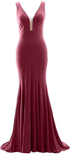 MACloth Deep Weinrot Evening Mermaid Gown Dress Jersey Neck Formal Prom V Simple ArAwxq