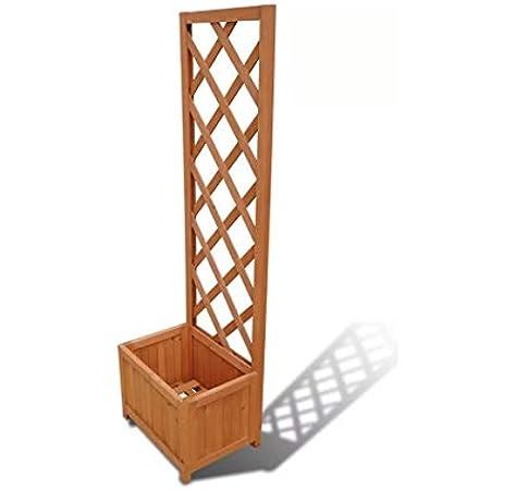 Wakects - Maceta de madera con enrejado, maceta rectangular y maceta de celosía para plantas de jardín de 40 x 30 x 135 cm: Amazon.es: Hogar
