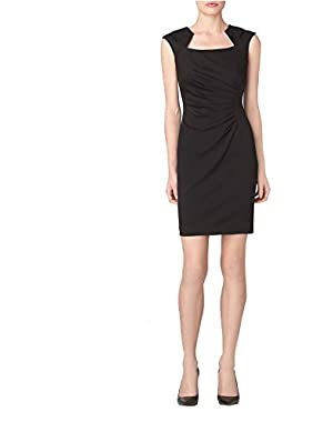 Calvin Klein Women's Square Neck Ruched Cap Short Sleeve Dress Solid Black!