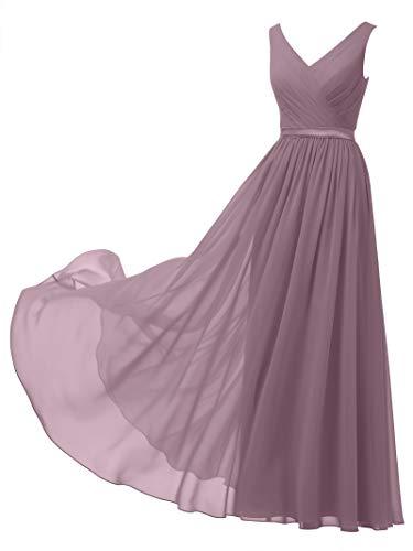 Alicepub V-Neck Chiffon Bridesmaid Dress Long Party Prom Evening Dress Sleeveless, Mauve Mist, US4