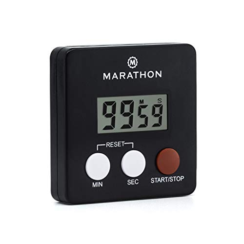 MARATHON TI080006-BK Digital Kitchen Timer with Big Digits, Loud Alarm, Magnetic Back with Clip and Stand-Black, Batteries Included