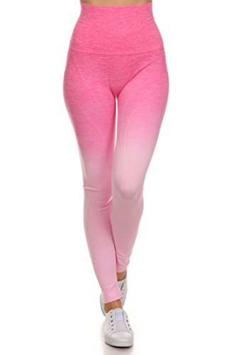 Flirty Light - ICONOFLASH Women's Athletic Space Dye Ombre Leggings (Light Pink, Medium)