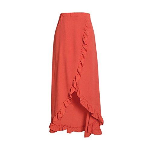 Jupe Dihope Asymtrique Casual Plage Volants Taille pour Sexy Vacances Mode Femme Dress Plisse Orange Haute Ar5Aq