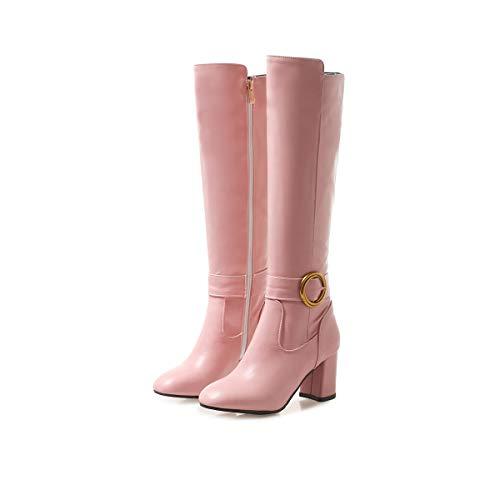 Boots Zip Pointed Ladies Toe Black Knee Pink Block Heels Pink Heels High JIEEME Fashion Women high B1wFEqW6