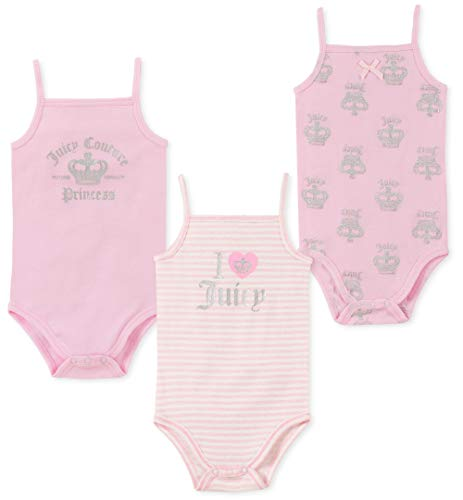 - Juicy Couture Baby Girls 3 Pieces Pack Bodysuits, Light Pink 0-3 Months