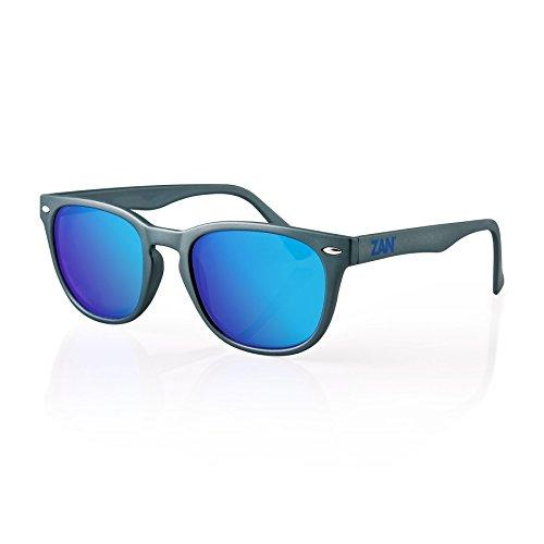 Zan Headgear NVS Sunglass, Matte Gunmetal Frame, Smoke Cyan Mirror - Cyan Sunglasses