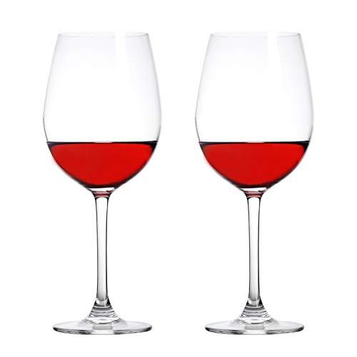 Jimbell Wine Glasses, Italian Style Crystal Red Wine Glasses – 17 Ounce Premium Crystal Clear Glass Set of 2/Lead-Free…