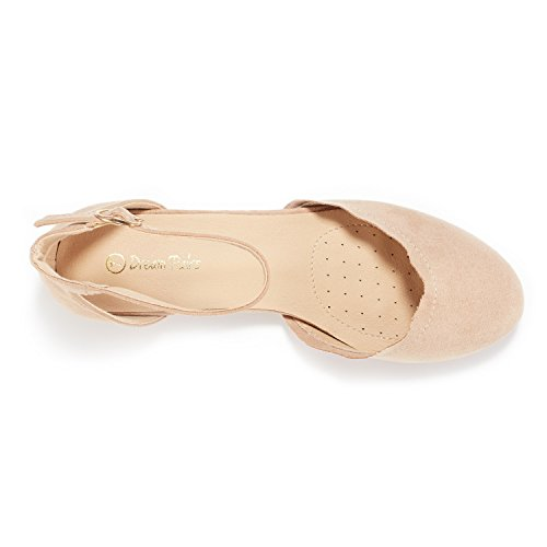 DREAM PAIRS Women's Sole_Vogue Nude Fashion Low Stacked Ankle Straps Flats Shoes Size 8 M US by DREAM PAIRS (Image #2)