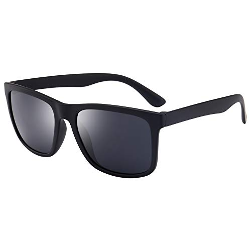 (BEEAN Polarized TR90 Lightweight Sunglasses Classic Retro Sun Glasses for Men Women, Frosted Black,)