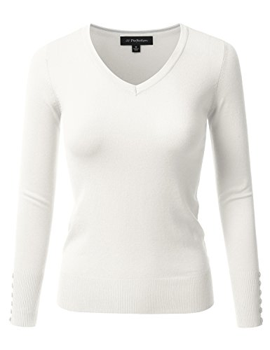 JJ Perfection Women's Stretch V-Neck Long Sleeve Sweater w/ Button Design WHITE L