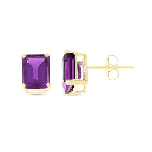 - 2.58CTW 14K Yellow Gold Genuine Natural Amethyst Emerald Cut 6 x 8 mm. Solitaire Stud Earrings