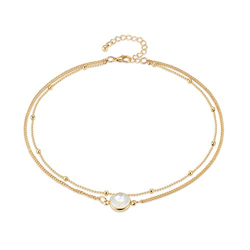 - Fettero Dainty Double Layered Gold Choker Handmade Beads 14K Gold Fill Round White Opal Pendant Necklace