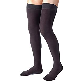 Made in USA - Medical Compression Stockings for Men - Graduated Compression Thigh High with Grip Top - Closed Toe - 20-30mmHg - Ribbed Opaque Black, Size Large - Absolute Support A2017BL3