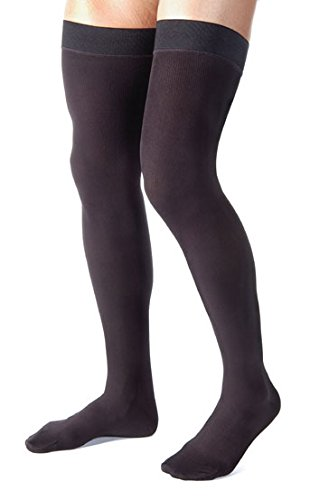 Mens Thigh High with Grip Top Fim Suppport 20-30mmHg- Black, Small-