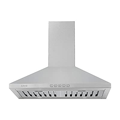 Zuhne Ventus 30 inch Kitchen Wall Mount Vented/ Ductless Stainless Steel Range Hood or Stove Vent with Energy Saving Touch Control & LED Lights