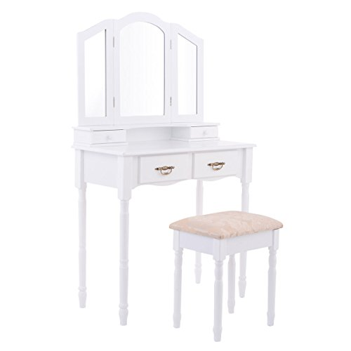 Giantex Tri Folding Mirror Bathroom Vanity Makeup Table Stool Set Home Furni W/4 Drawers (White) by Giantex