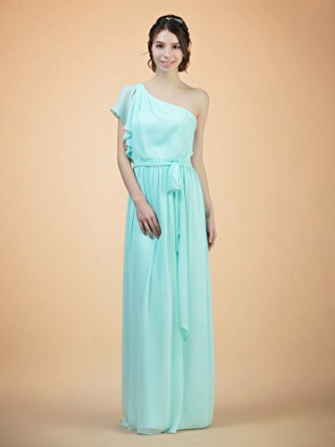 Long Evening Alicepub Bridesmaid Chiffon Prom Gown Dresses Maxi Party Asymmetric Emerald wxBBqpX