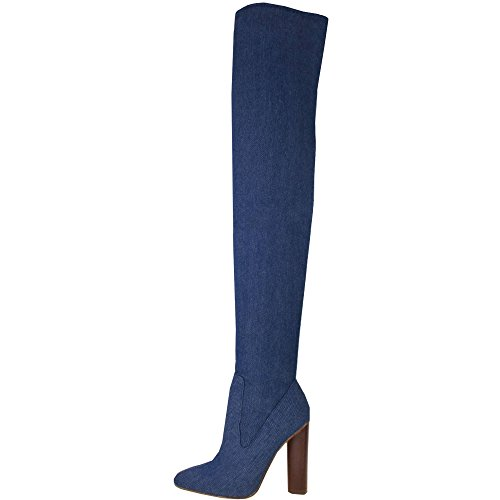 Ladies High Rounded Heel Stretch Slim Leg Over The Knee Boots Mid Blue Denim UK 5, EU 38