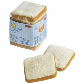 HABA Biofino Sliced Bread (6 Soft Pieces) for Pretend Play use as Toast or for Sandwiches