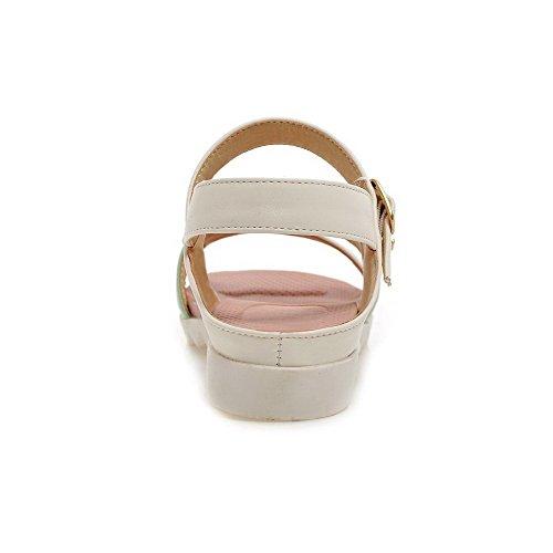 Amoonyfashion Womens Zacht Materiaal Open Teen Lage Hakken Gesp Diverse Kleur Wiggen-sandalen Groen