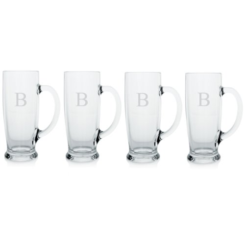 Cathy's Concepts Personalized Craft Beer Mugs, Set of 4, Letter B
