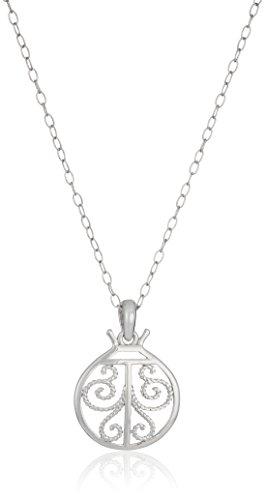 Sterling Silver Filigree Lady Bug Pendant Necklace, - Bug Sterling Silver