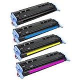 Lot de 4124A Compatible imprimante cartouche de toner FO HP LaserJet 160026002600N 2605605dn 2605dtn MFP CM1015CM1017, 1x Q6000A Noir, 1x Q6001A Cyan, 1x Q6002A Jaune, 1x Q6003A Magenta