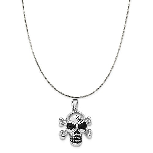 (Sterling Silver Rhodium-Plated Antiqued Enameled Skull Pendant on a Sterling Silver Snake Chain Necklace, 16