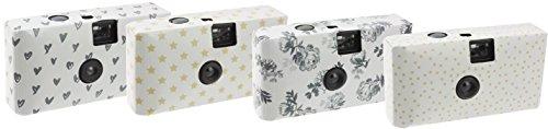 Trendz Einwegkamera-Set mit 4x Kamera mit jeweils 18 Aufnahmen ideal für Geburtstage, Hochzeiten, Taufen oder Urlaub mit Freunden - Diverse Muster
