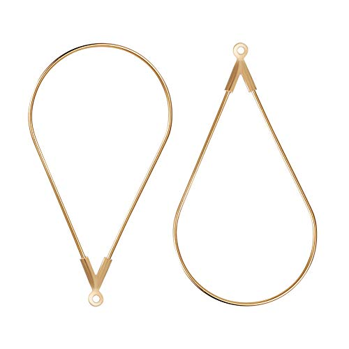 BENECREAT 30 PCS 18K Gold Plated Teardrop Shaped Beading Hoop Earring Finding for DIY Making Findings