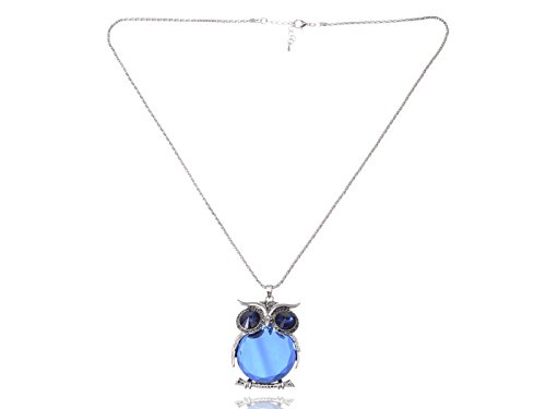 Alilang Womens Silvery Tone Sapphire Blue Colored Rhinestones Fat Owl Bird Pendant Necklace