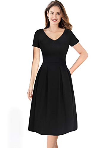 VFSHOW Womens Solid Black V Neck Pleated Pockets Work Business Casual Skater A-Line Dress 2768 BLK 3XL