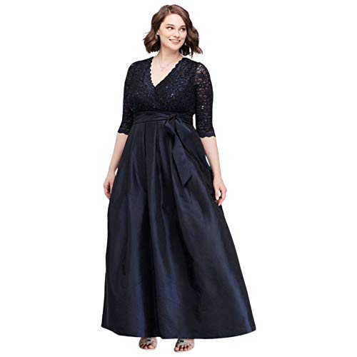 Lace Surplice Bodice Taffeta Plus Size Ball Mother of Bride/Groom Gown Style JHDW5750, Navy, 16W