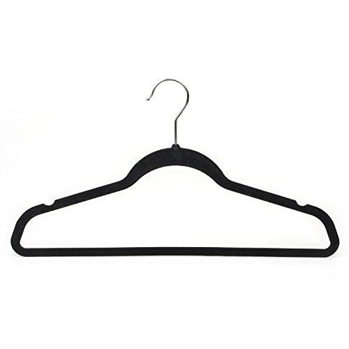 Michael Graves Design Ultra-Thin Non-Slip Velvet Clothing Hangers, Flocked & Durable, Closet Space Saving, for Garments, Suits, Dresses, Pants, Shirts, Coats, 25 Pack (Black)
