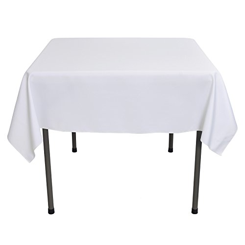 VEEYOO 54 inch Square Solid Polyester Tablecloth for Wedding Restaurant Party Coffee Shop Picnic Christmas, White for $<!--$10.49-->
