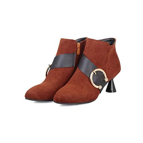 Sandalette-DEDE Cinturon de Hebilla de Botas de Mujer con Botas de Mujeres brown