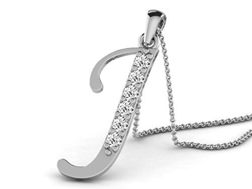 Or Blanc 18 ct Pendentifs Diamant en forme de J alphabet, 0.13 Ct Diamant, GH-SI, 0.72 grammes.