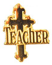 Teacher with Cross Pin/Tie Tac, pack of 3