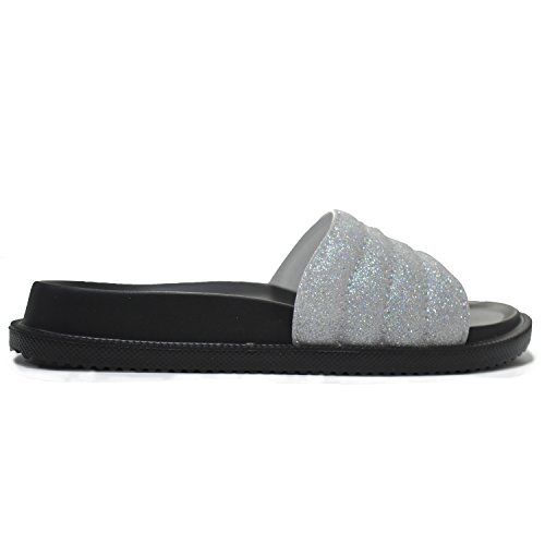 COFACE Women's Slippers Soft Slide Flat EVA Sandals with Warm Fluffy Faux Fur Silver vYh72SC