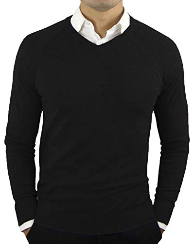 V-neck Lightweight Sweater - Comfortably Collared Men's Perfect Slim Fit Lightweight Soft Fitted V-Neck Pullover Sweater, Large, Black