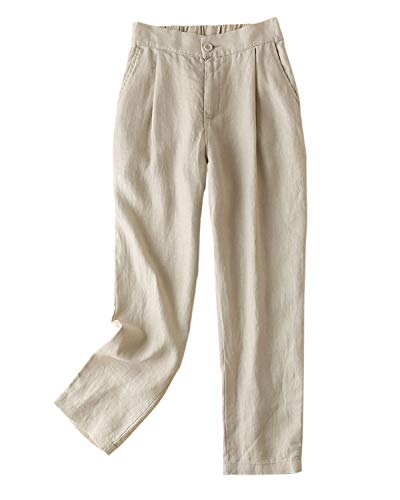 (IXIMO Women's Tapered Pants 100% Linen Front Pleated with Button Closure Elastic Waist Trousers Khaki S)