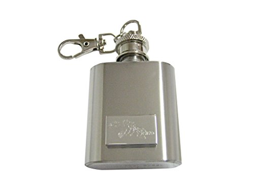 (Silver Toned Etched Rock Cod Fish 1 Oz. Stainless Steel Key Chain Flask)