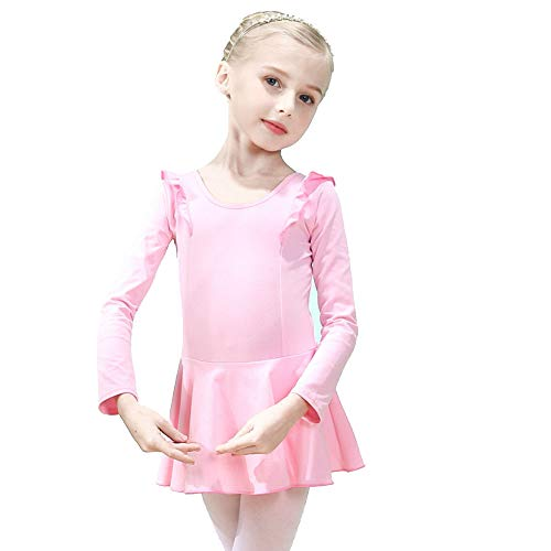 Hesuimaoyi Girls Dance Ballet Leotard Dress Skirt Flying Long Sleeve Athletic Gymnastic Slim Cotton Drence Dancewear Pink Size140 ()